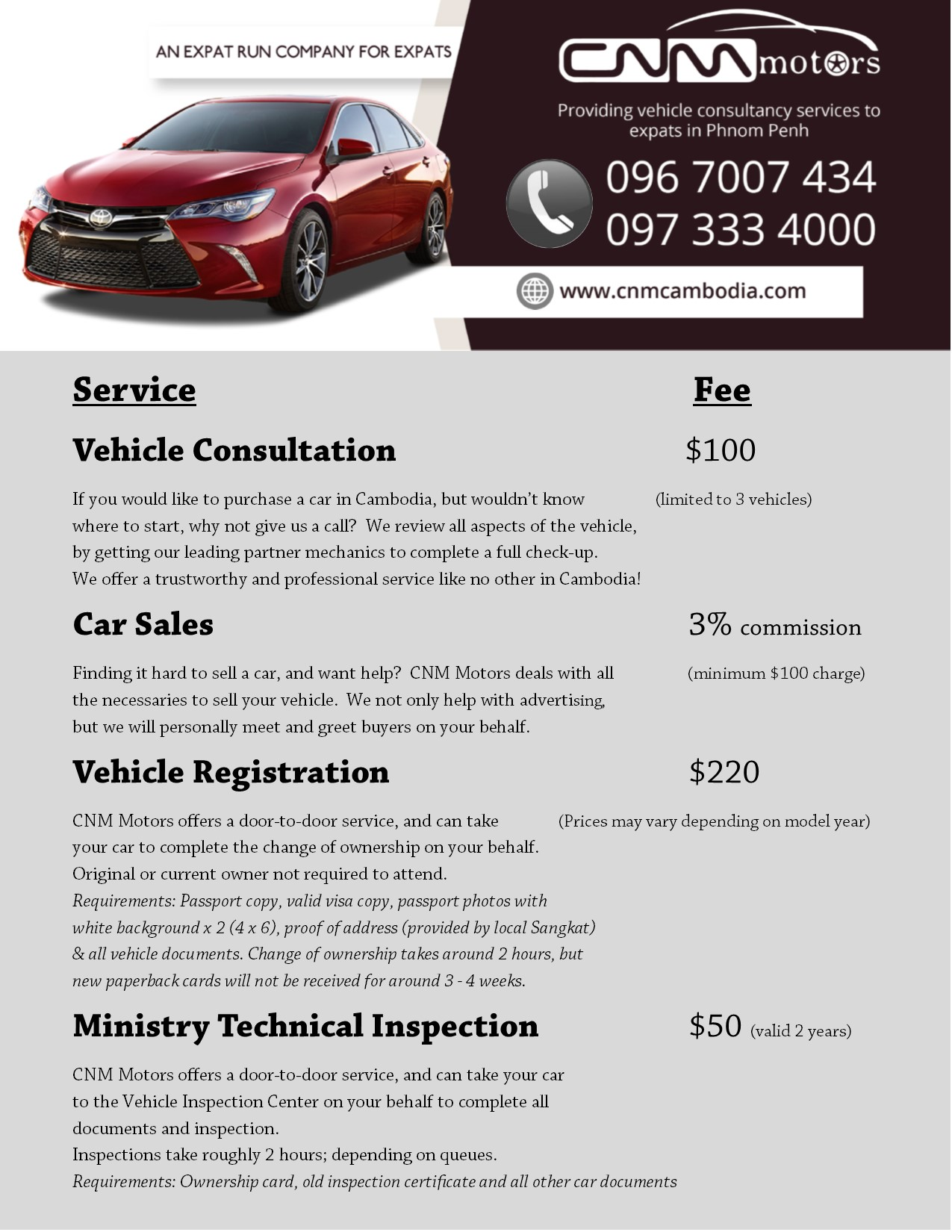 Price List & Service Charges - CNM Motors